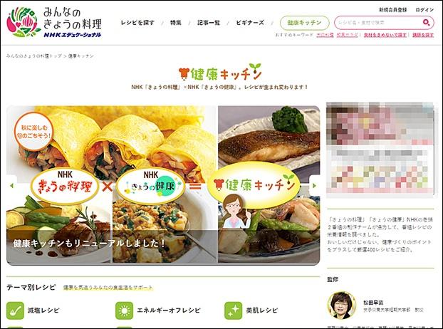 NHK「みんなのきょうの料理」の健康キッチン